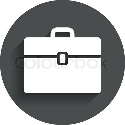 11967 briefcase icon flat sign icon briefcase button circle flat button with