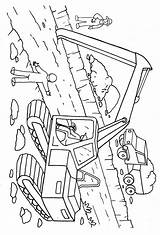 Coloring Excavator Digger Pages Printable Construction sketch template