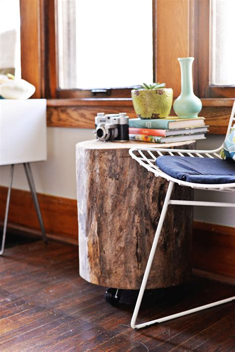 how to make a tree stump end table diy tree stump side table