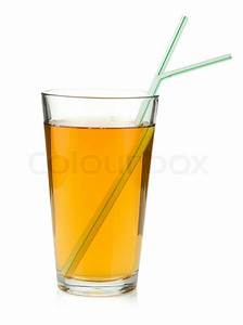 Apple juice in a glass with drinking straws | Stock Photo ...