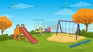 Kids Playground On An Autumn Day Background Cartoon ...