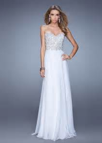 white bridesmaid dresses embellished bodice beaded strapless white chiffon prom dress la femme 20888 white 190 00