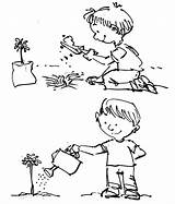 Coloring Watering Plant Tree Arbor Plants Planting Drawing Seed Growing Template Plantation Sketch Seeds Clipart Flower Tiny Tocolor Using Copy sketch template