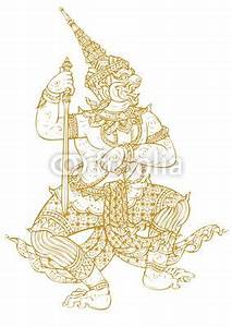 Khmer Hanuman Designs Demon Guardian Traditional Thai Art Lined Design Vector