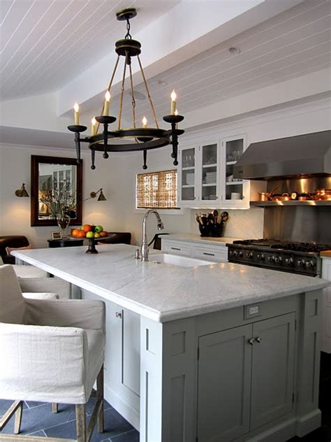 large kitchen island  marble countertop  sink