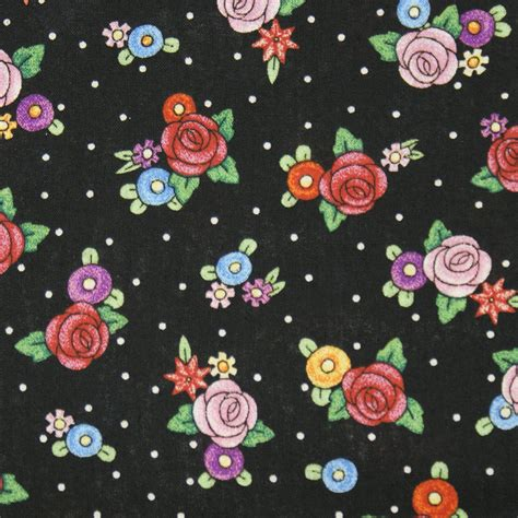 mary engelbreit fabric black polka dot  fried egg flowers