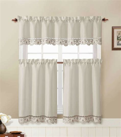 drapery sets 3 kitchen window curtain set with flower embroidered