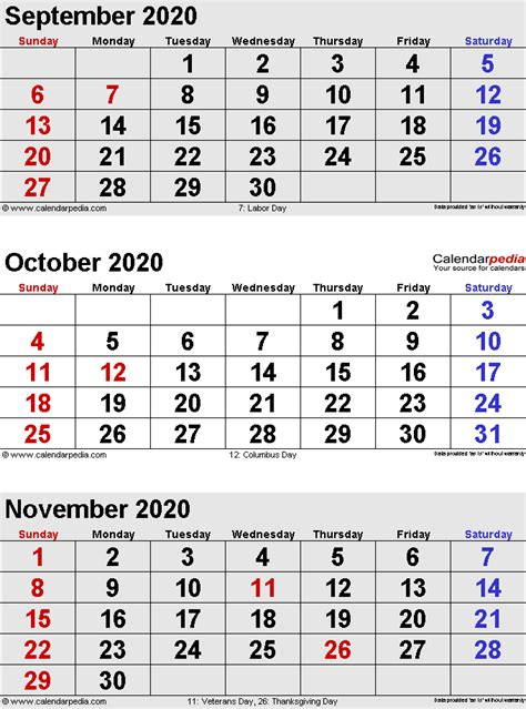october calendars word excel