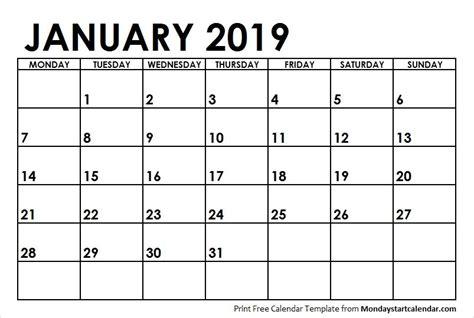 january  calendar monday start weekly calendar