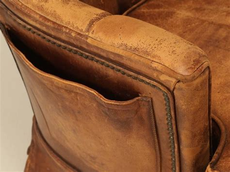 French Leather Armchair With Magazine Pocket For Sale At