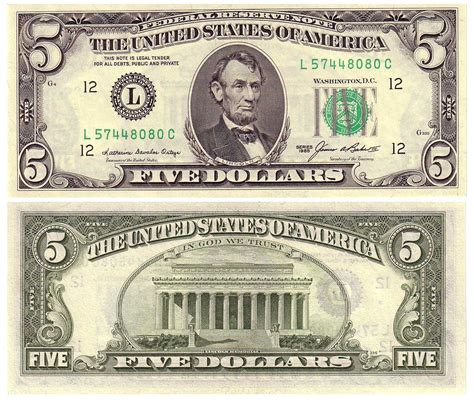 5 Dollar Bill  Free Coloring Pages