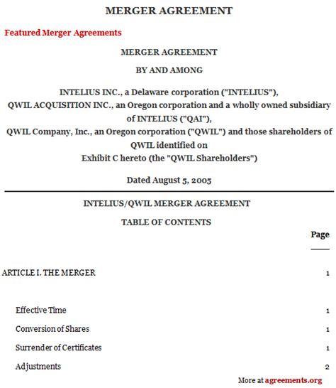 Merger Agreement Template by Merger Agreement Sle Merger Agreement Template