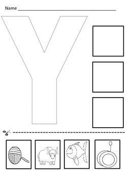 Letter Y Cut And Paste Worksheet By Kinder Spot Tpt