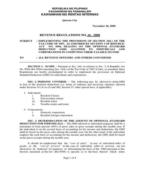 RR No. 16-2008 Optional Standard Deduction | Tax Deduction