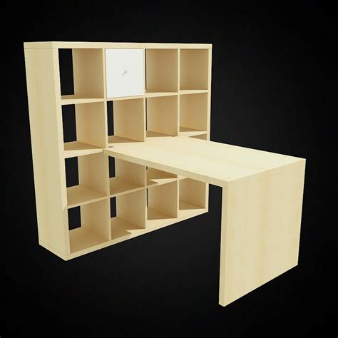 office desk with bookcase and shelving 3d ikea expedit bookcase and desk high quality 3d models
