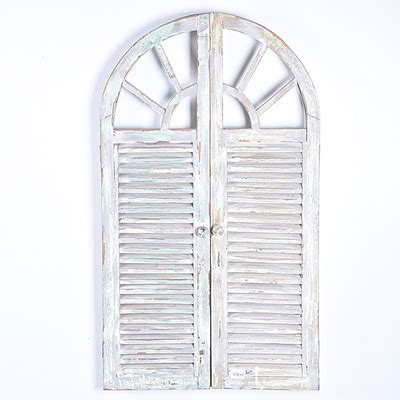 shabby chic vintage rustic white handmade decorative wooden window shutter wall mirror buy