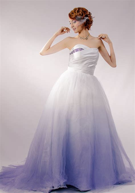 purple ombre tulle wedding dress couture