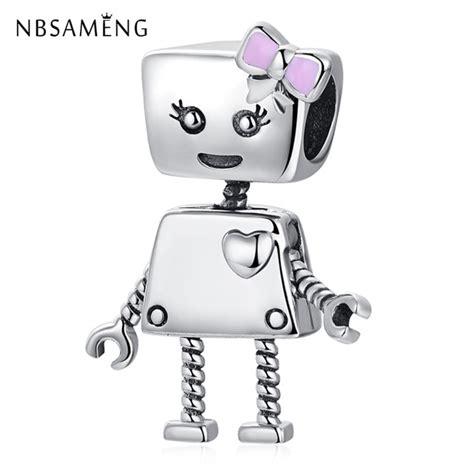 sterling silver bead cute robot girl bella bot