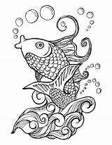 Water Fish Koi Waves Drawing Coloring Pages Adult Colors Animal Pond Getdrawings Etsy Stencils Japanesekoigardens sketch template