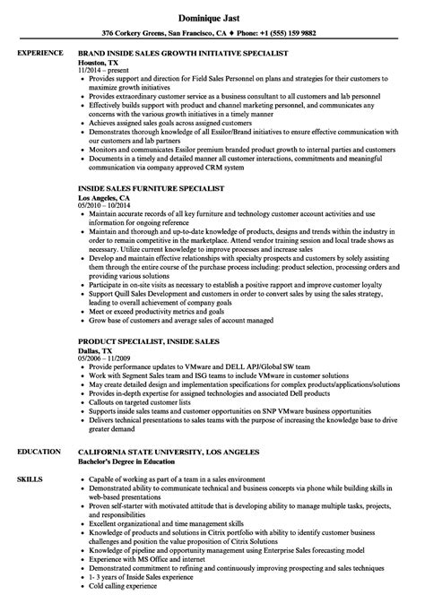 Inside Sales Resume by Specialist Inside Sales Resume Sles Velvet