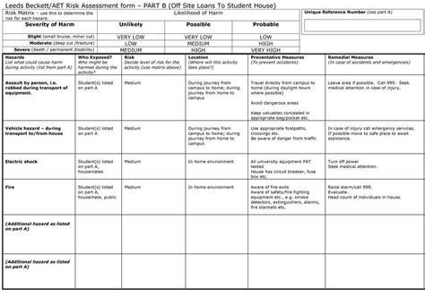 pre filled  part  risk assessment form