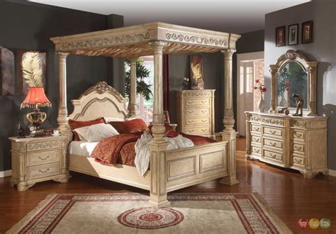 Antique White Bedroom Sets by Kamella Antique White Traditional Poster Canopy Bedroom