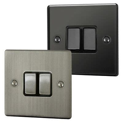 double switch 2 gang switched mains brushed chrome with