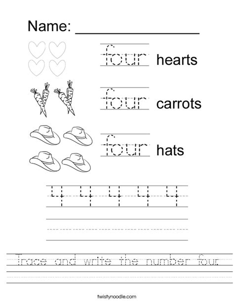 trace and write the number four worksheet twisty noodle