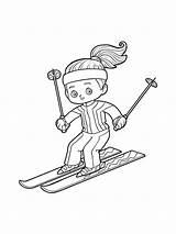 Ski Ausmalbilder Coloring Malvorlagen Zum Skiing Kinder sketch template