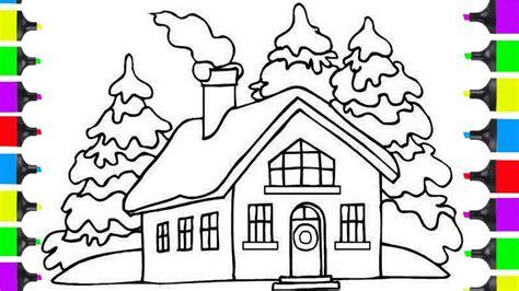 draw christmas santa clause house coloring pages