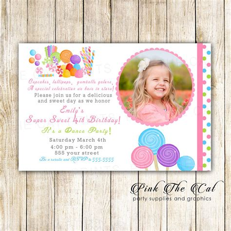 Candy Birthday Invitation Photo Card for Girl Sweet Shop