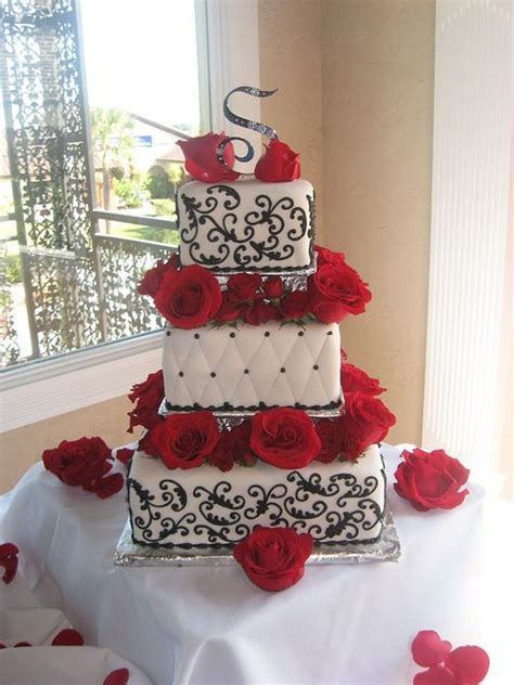 white black  red roses wedding cake fairy tales