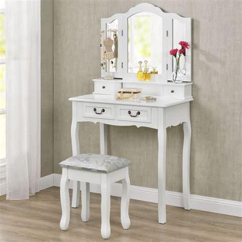 schminktisch mit beleuchtetem spiegel schminktisch quot quot wei 223 mit spiegel und hocker juskys