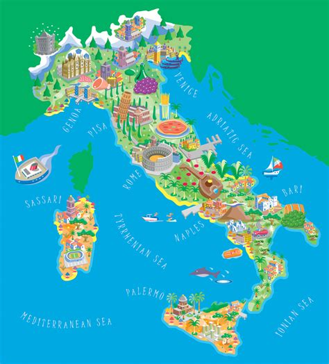 illustrated map  italy map collection