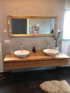 Waschtischunterschrank Für Aufsatzwaschbecken Holz : waschtischunterschrank aus holz rustikal massiv eiche baumkante waschtisch unterschrank ~ Bigdaddyawards.com Haus und Dekorationen
