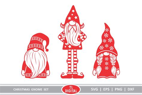 Gnome sublimation clipart design easy to use for many christmas craft. Christmas Gnomes Set of 3 Cutting Files - Gnome Designs