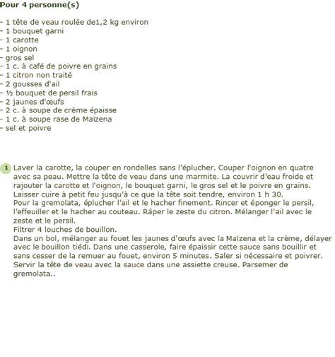 cuisiner tete de veau recette tête de veau poulette gremolata au citron facile