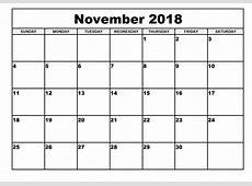 November Calander 2018 pertaining to Dream Flash Design