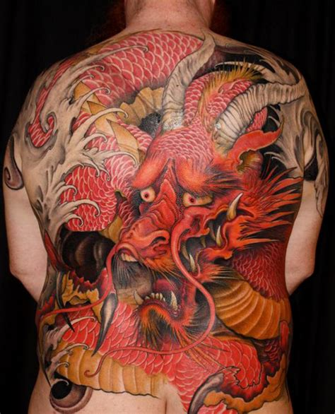 guilty red dragon full  japanese tattoo  tattoo