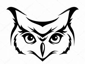 Head of horned owl. Vector illustration. — Vector stock ...