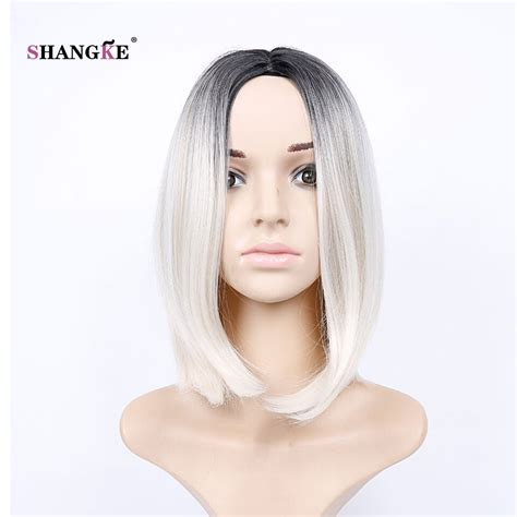Shangke Hair 14 Short Bob Wig White Ombre Synthetic Wigs