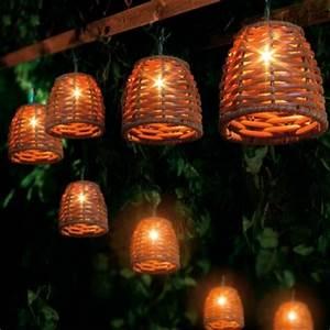 Solar Party String Lights Wicker String Lights