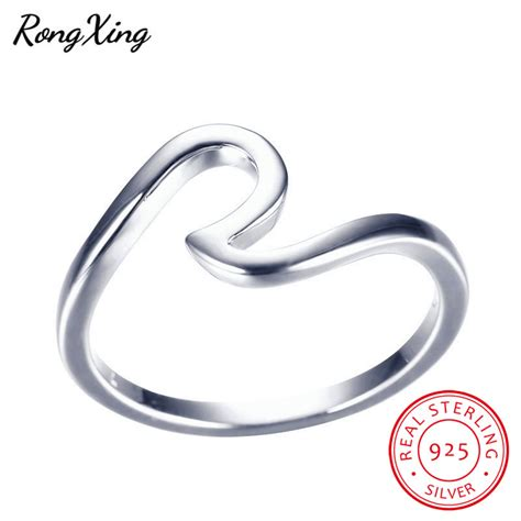 rongxing 100 real 925 sterling silver wave rings for women men fashion jewelry vintage wedding