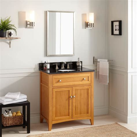 narrow depth halifax bamboo vanity  undermount sink