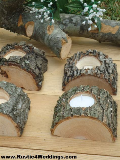 rustic wedding tree branch candle holders
