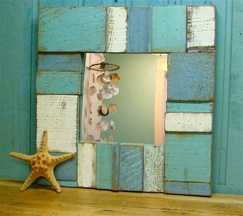 sea glass blues weathered wood wall mirror turquoise