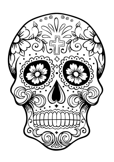 Permalink to Day Of The Dead Skull Coloring Page