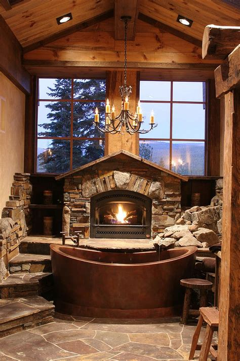 Log Cabin Tub by 50 Enchanting Ideas For The Relaxed Rustic Bathroom