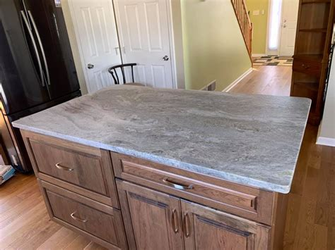 blue fantasy granite  leather finish  kitchen
