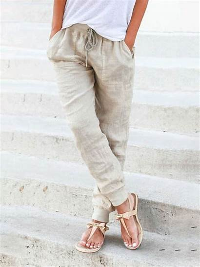 Pants Linen Casual Trousers Drawstring Solid Bottoms